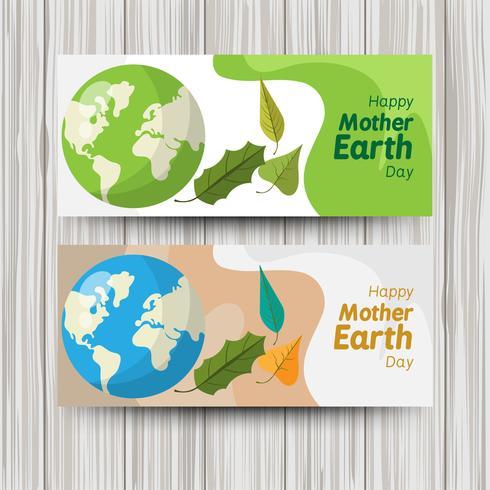 Bannières plates mignonnes pour la journée mondiale de la terre