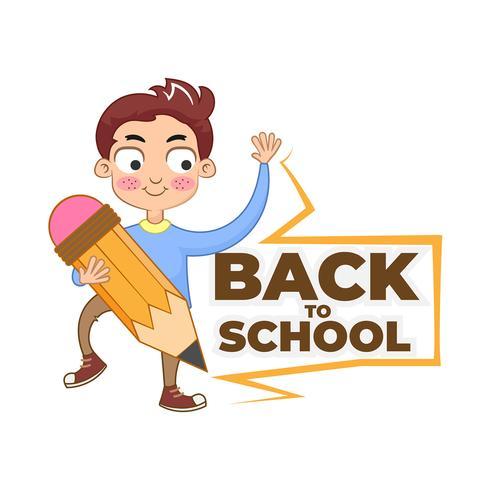 Volver a la escuela personaje de dibujos animados con lápiz