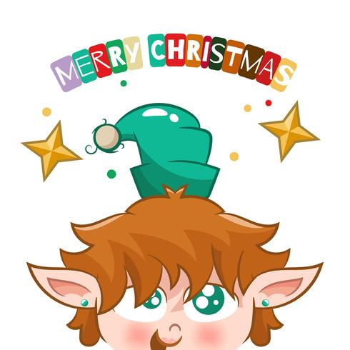 Desenho de elfo com estrela de Natal