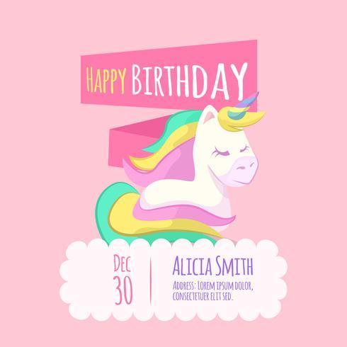 Cute unicorn birthday card