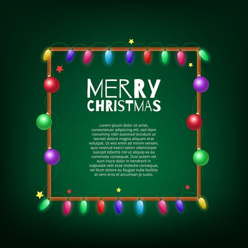 Christmas lights bulb frame decoration