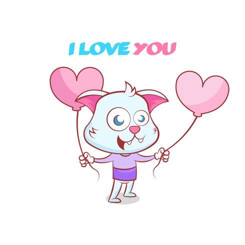 Happy valentines, carino disegnato a mano gatto con palloncini