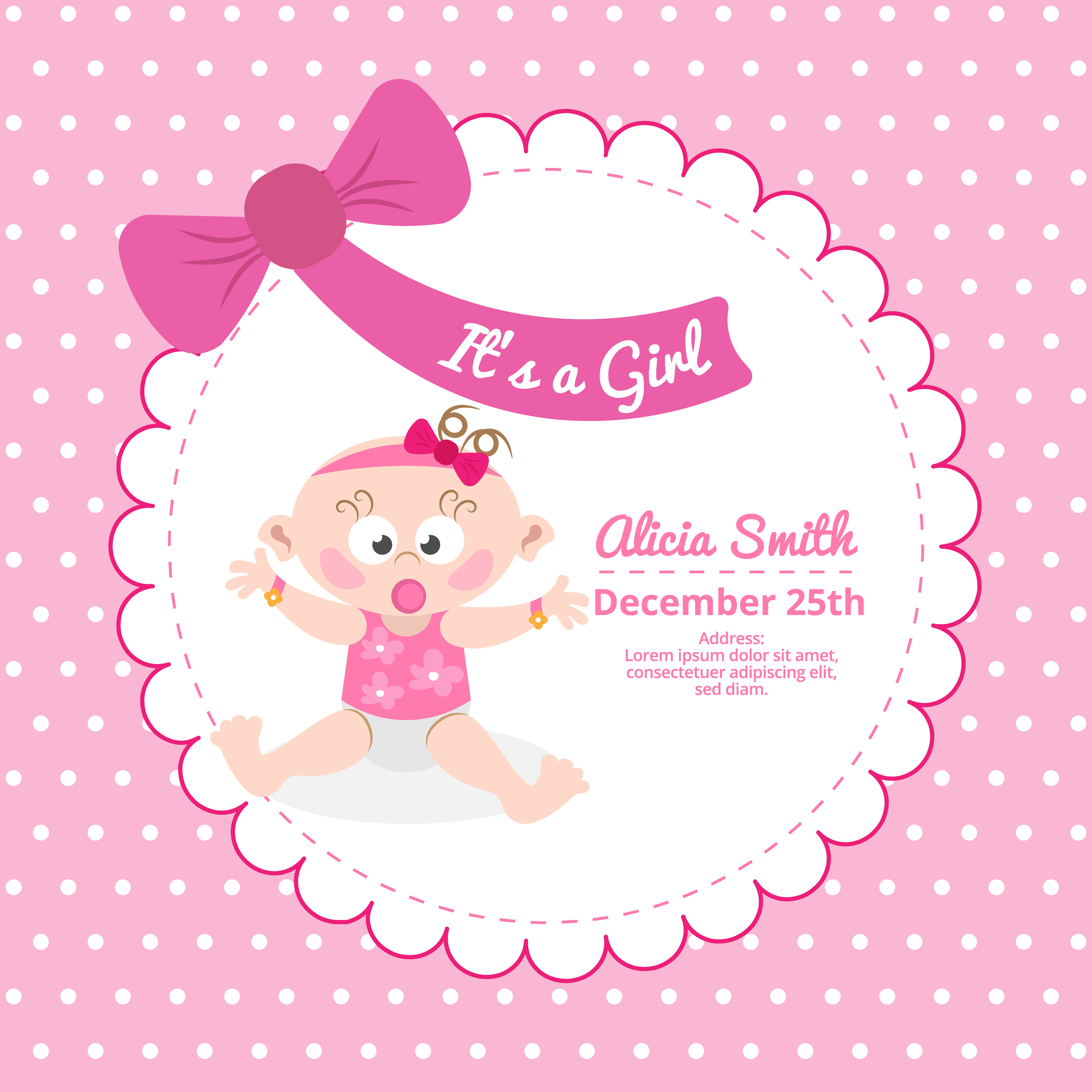 Cute Baby Shower Card In Pink Color Download Free Vector
