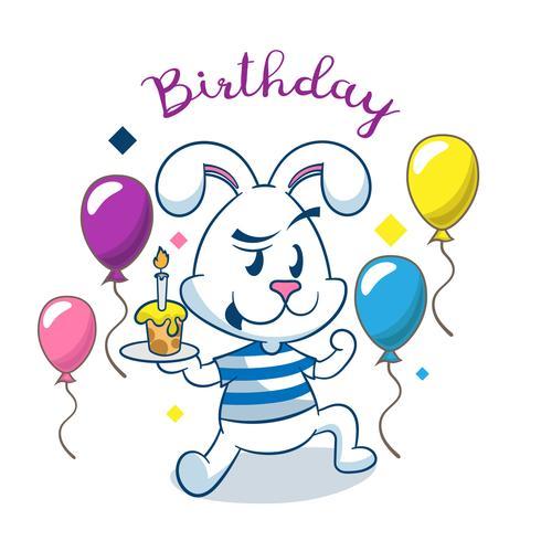 Cartão de aniversário com coelho fofo