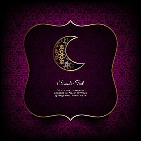 Tema de Ramadan Kareem. Cartão de vetor com lanternas, lua e luzes