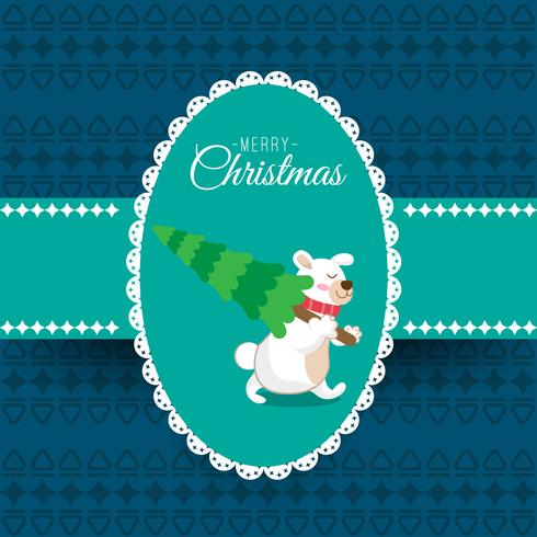 Feliz Natal e feliz ano novo cartão infantil, imagem de urso