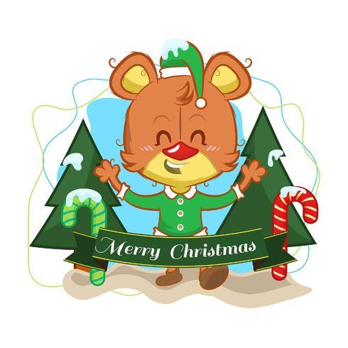Fundo de Natal com um urso fofo