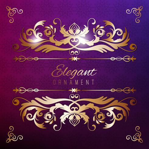 Tarjeta de invitación de la vendimia. Fondo de lujo púrpura con marco dorado. Plantilla para el diseño