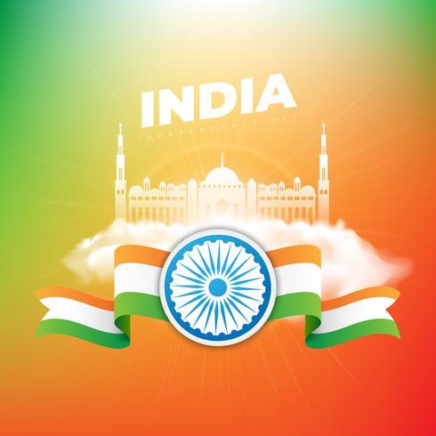 Jour de l'indépendance de l'Inde en arrière-plan de couleurs