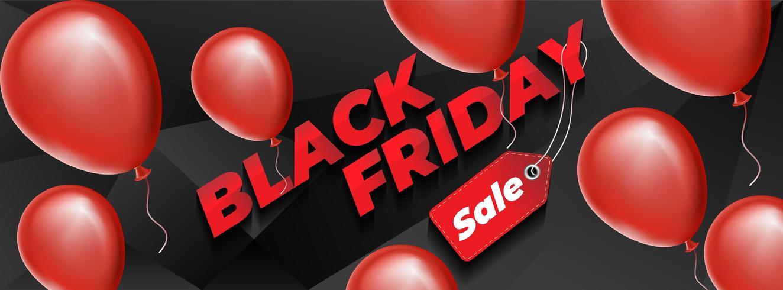Diseño de viernes negro con globos rojos realistas.