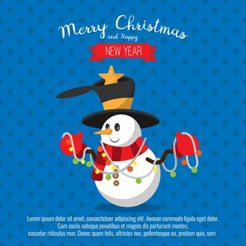 Tarjeta con muñeco de nieve navideño y luces