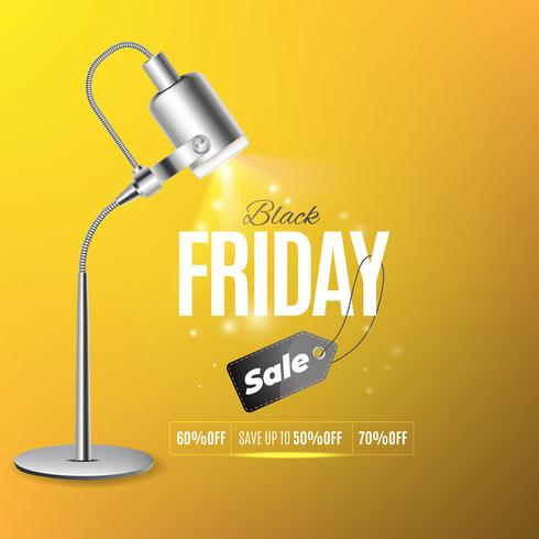 Yellow background with light, black friday