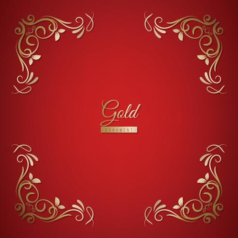 Ornament frame on golden and red background