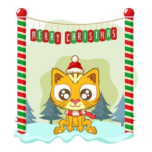 Fundo de Natal com um gato fofo