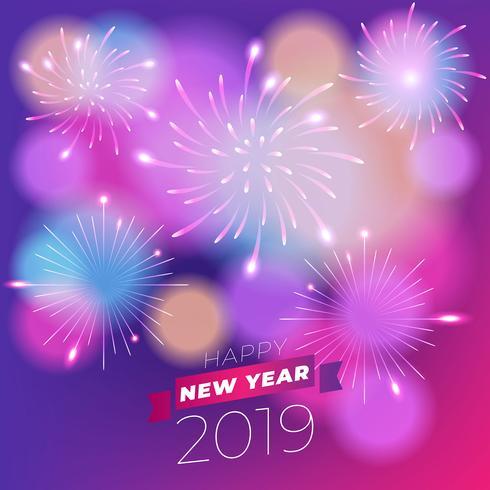 Fogos de artifício realistas ano novo 2019 fundo