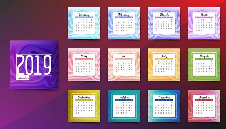 Calendario 2019 con trama di marmo