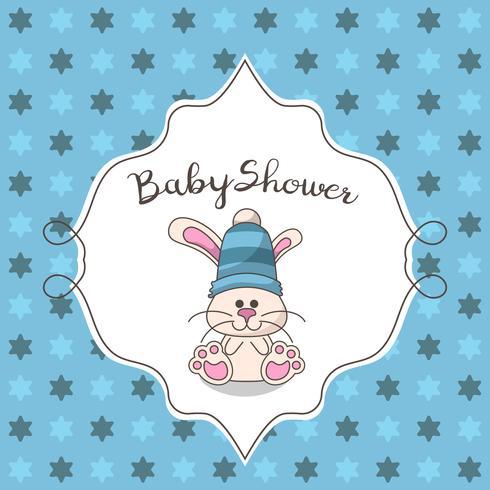 Cartão de chuveiro de bebê com coelho fofo