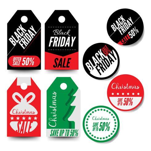 Black Friday et badges et étiquettes de vente de Noël
