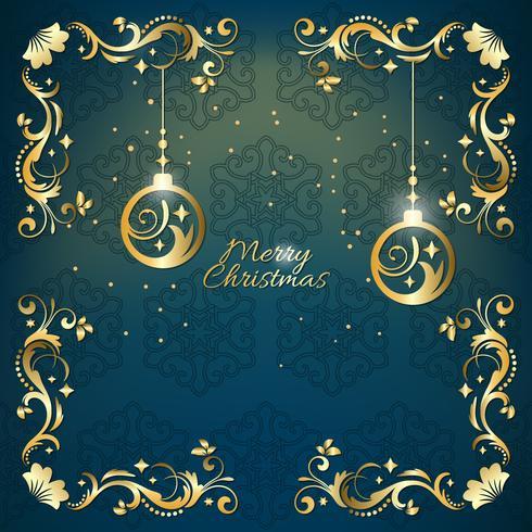 Cartolina d'auguri blu e dorata di natale dell'annata con la decorazione floreale