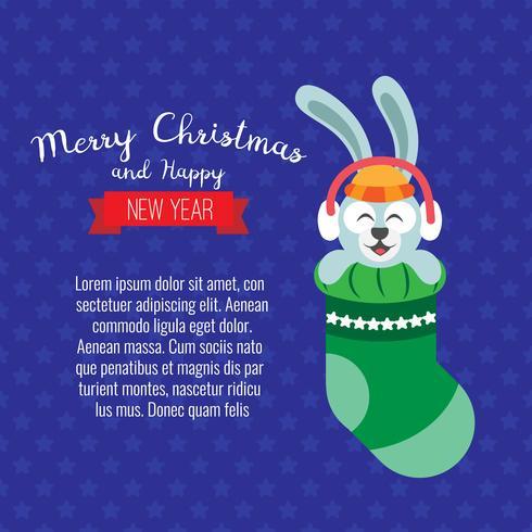 Scheda con coniglio di Natale. Cervi simpatico cartone animato con calza