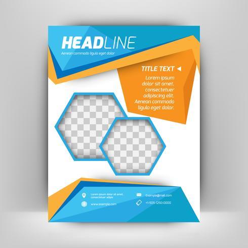 Mall vektordesign för broschyr, årsredovisning, tidskrift, affisch, företagspresentation, portfölj, flygblad, layout modern med blå och orange färg