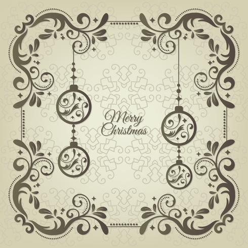 Cartão de saudação de Natal vintage com decoração floral