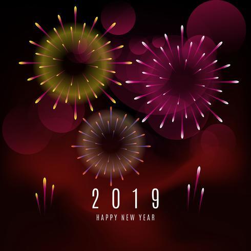 Realistischer Hintergrund des neuen Jahres 2019 der Feuerwerke