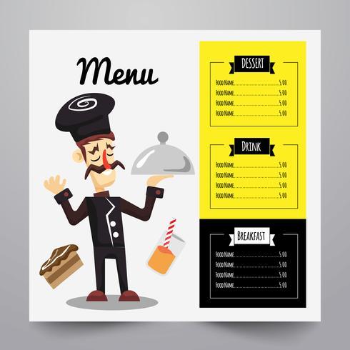 Menu com ilustração de chef