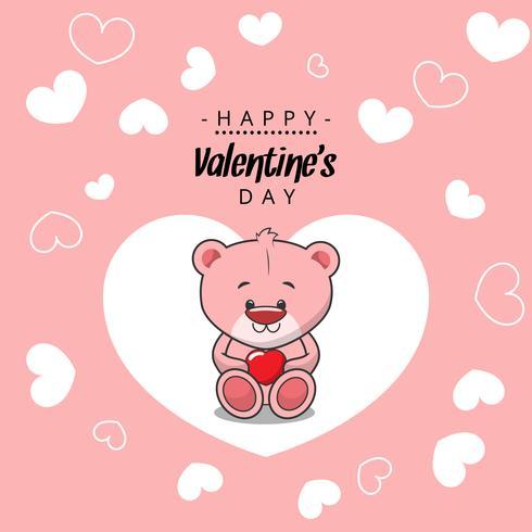 lyckliga valentiner rosa björn
