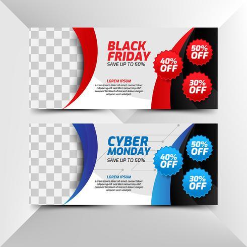 Flyer de sexta-feira negra e cyber segunda-feira em estilo moderno