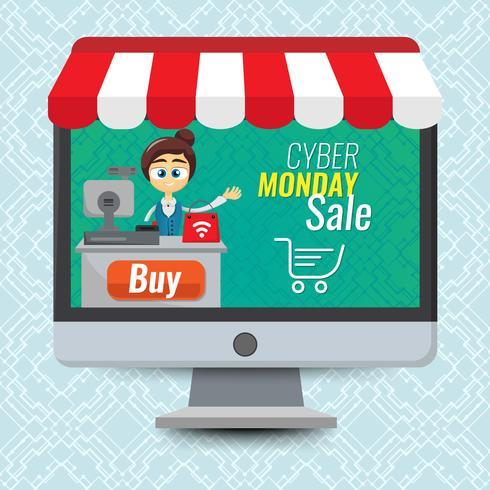Concepto de ilustración vectorial para en línea tienda. Publicidad digital. Mujer, venta, en, computadora