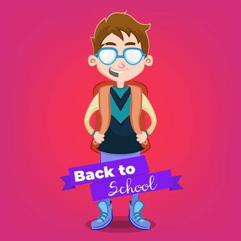 Chico lindo ir a la escuela de dibujos animados
