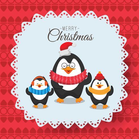 Buon Natale e felice anno nuovo biglietto infantile, immagine di tre pinguini in sciarpa. Può essere usato come un invito alla festa di Natale