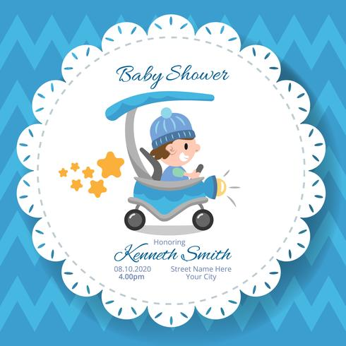 Baby shower blue carriage