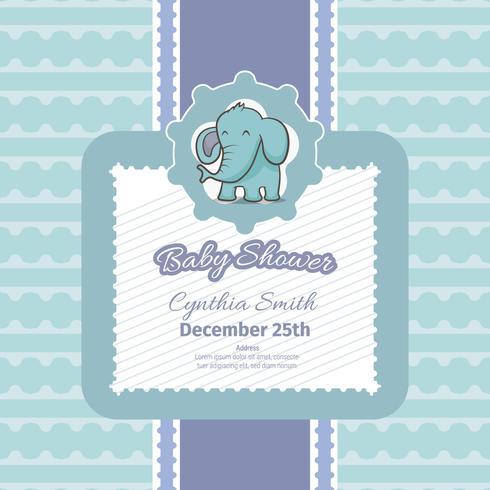 Babypartykarte mit niedlichem Elefanten