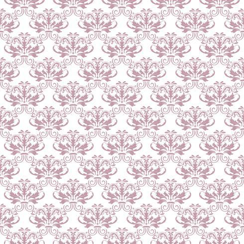 Patrón floral. Papel pintado barroco, damasco. Vector de fondo sin fisuras Adorno morado y blanco