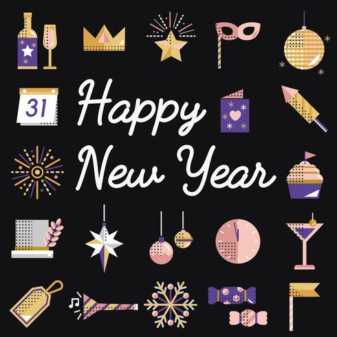 Conjunto de iconos de año nuevo vector