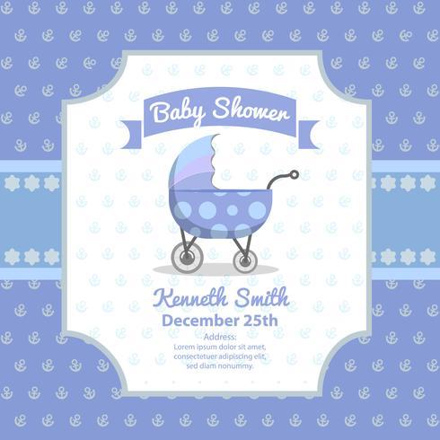 Cartão de chuveiro de bebê com carrinho bonito