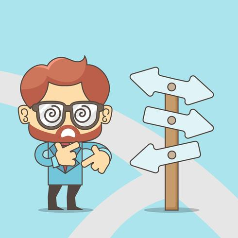 Right direction. A businessman looks at arrows pointing to many directions