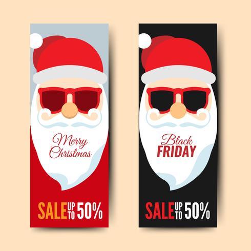 Viernes negro y tarjeta navideña con dibujos animados de santa claus
