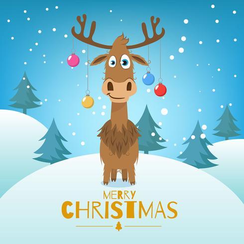 Fondo navideño con árboles y renos.
