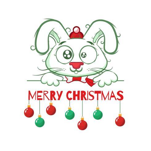 Fundo de Natal com um coelho fofo