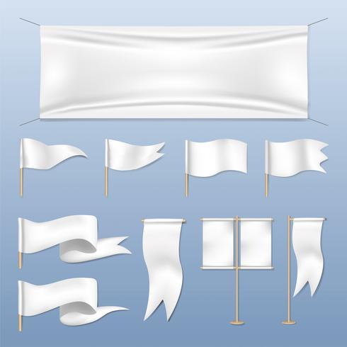 Vector de banderas y banderas de diferentes estilos