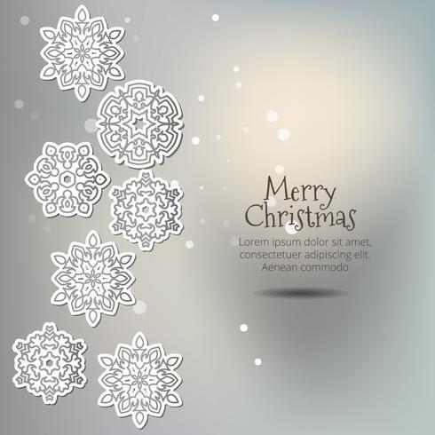 God Jul! Snöflingor med skugga på en elegant bakgrund.