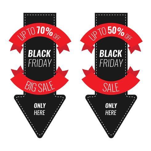 Plantilla de diseño de inscripción de venta de viernes negro. Ilustración de la flecha