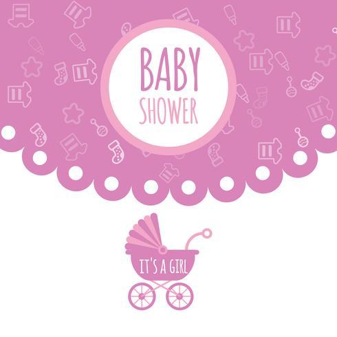 Babyparty für neugeborene Feiergruß und Einladungskarte. Perfekt um die Geburt eines Kindes zu feiern. Rosa Farben und Kinderartikel
