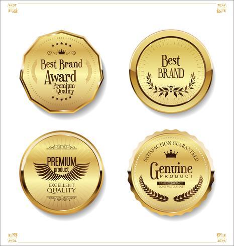 Golden retro venta de insignias y etiquetas de colección
