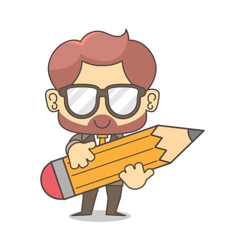 Uomo d'affari usa la matita