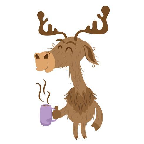 Rena de Natal bebendo café