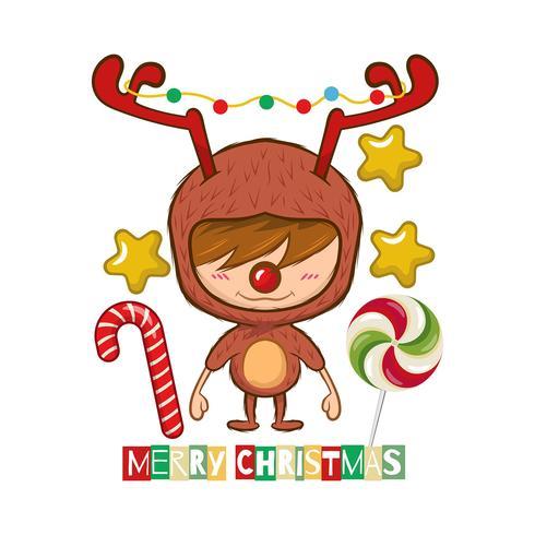 Fondo de Navidad con un chico lindo disfrazado de reno